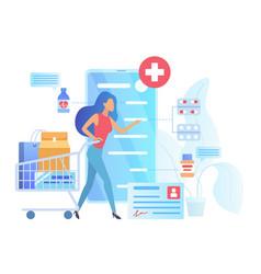 Online pharmacy flat vector