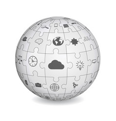 Puzzle shape of a sphere with business icons vector