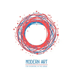 Red and blue color round frame in modern vector