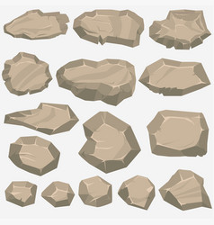 Rock stone cartoon in flat style set of different vector