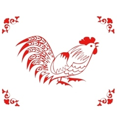 Rooster in a folk style vector
