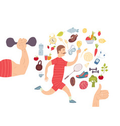 Running man jogger cardio training sports vector