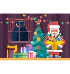 Santa Claus with open box vector image