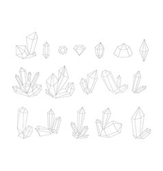 Set 17 fashion crystal Monochrome diamonds in vector