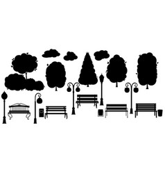 Set black object for city park silhouette tree vector
