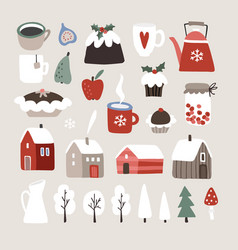 Set cute winter christmas food drink and vector