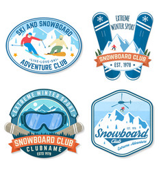 set snowboard club patches concept vector image