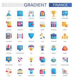 set trendy flat gradient finance vector image