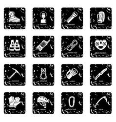 Speleology equipment icons set grunge vector