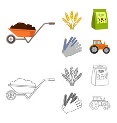Spikelets of wheat a packet of seeds a tractor vector
