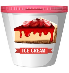 Strawberry cheesecake ice-cream in plastic cup vector image