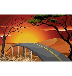 Sunset and road vector