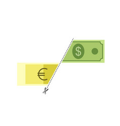 symbol rate cut line for two dollar and euro vector image