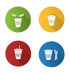 Tea drinks flat design long shadow glyph icons set vector