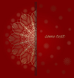 the template for greeting card in red and gold vector image