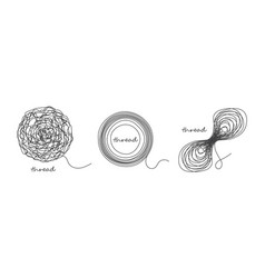 Thread ball and ravel icon set isolated on white vector