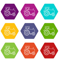 tractor icons set 9 vector image