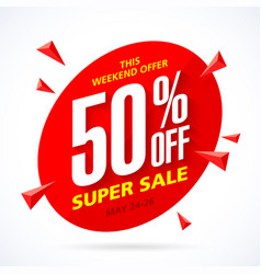 weekend super sale banner template vector image