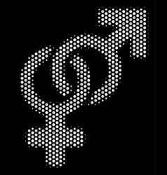 White halftone heterosexual symbol icon vector