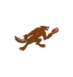 Wolf Plumber Monkey Wrench Isolated Cartoon vector