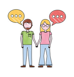 woman and man holding hands romantic vector image