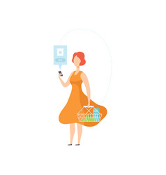 woman shopping online a smartphone internet vector image
