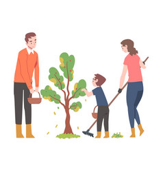 Young man and woman with their kid engaged in vector