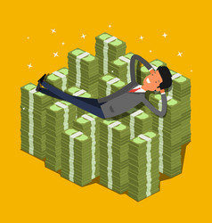 businessman lying on a pile of money vector image vector image