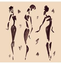 Figures of african dancers Hand drawn vector image