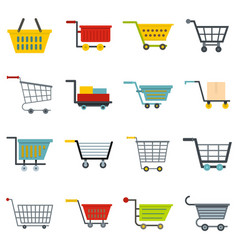 shopping cart icons set in flat style vector image