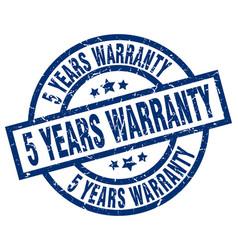 5 years warranty blue round grunge stamp vector image vector image