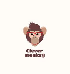 clever monkey sign emblem or logo template vector image