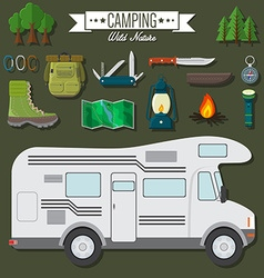 Flat design modern of travel and vacation set vector image
