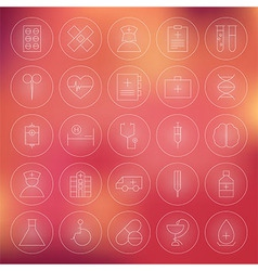 Health Care Circle Medical Line Icons Set vector image vector image