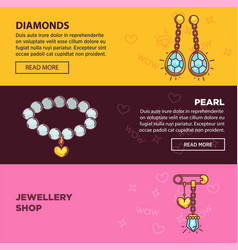 jewelry online shop web banners flat vector image