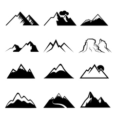 Monochrome mountain icons vector image vector image