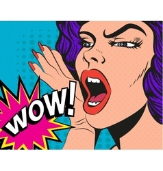Woman with wow sign in pop vector image