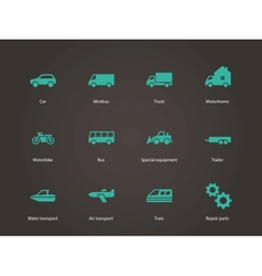 Cars and Transport icons vector image vector image