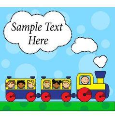 Cartoon locomotive and children traveling vector image