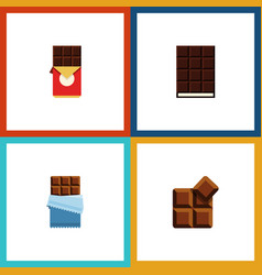 Flat icon cacao set of cocoa chocolate bar vector