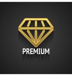 Golden Diamond Logo Design on Gray Background vector image vector image