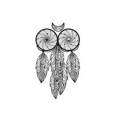 Hand drawn native american dreamcatcher owl vector
