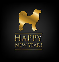 New year card with golden dog vector