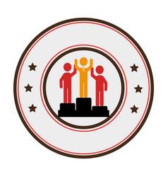 podium athletes silhouette icon vector image