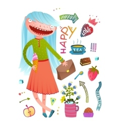 Pretty little girl fashion girlish design elements vector image vector image