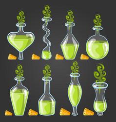 set bottles of potion with magic smoke vector image