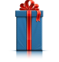 Blue gift box with red silk ribbon vector image vector image