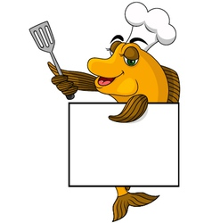 Cartoon cook fish vector image vector image
