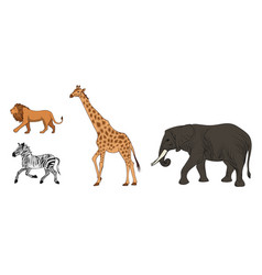 colorful african wild animals set vector image vector image