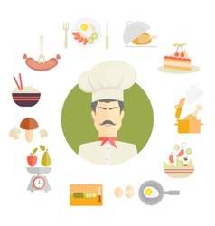 Cooking and food icons in fat style vector image vector image